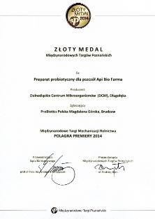 Złoty medal dla ApiBioFarmy